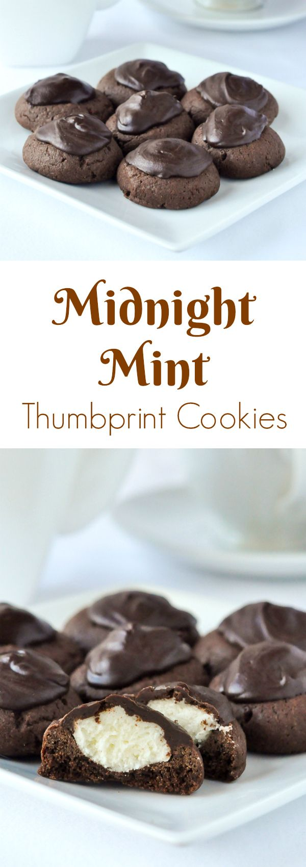 Midnight Mint Thumbprint Cookies - a dark chocolate thumbprint cookie filled with creamy mint frosting and capped with a dollop of rich dark chocolate.