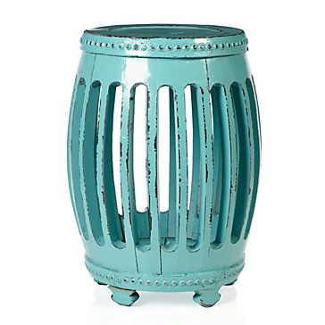 Winslow Stool in Aquamarine, $199.95: Small Tables, Living Rooms, Side Tables, Aquamarines Stools, End Tables, Winslow Stools, Gardens Stools, Accent Tables, Photo