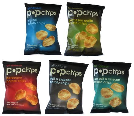 Pop Chips - If I am craving something salty, I grab the pop chips. With about 100 calories per 22 chips, you can't beat them. Plus, they are delicious!
