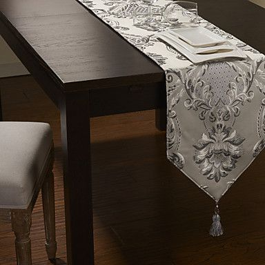 Silver Poly- Silk Jacquard Floral Table Runner – USD $ 24.99