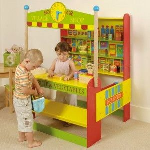 What child doesn't love playing shop keeper ? This brightly coloured village shop will keep children amused for hours.