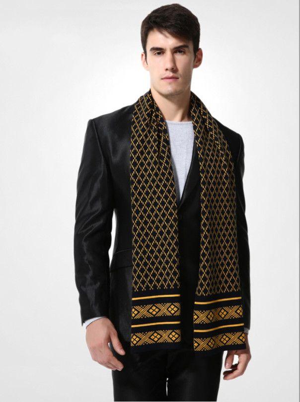 Elegantný pánsky šál z vlny a bavlny - Vzor 11