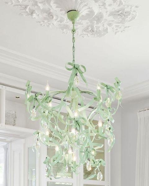 I N S P I R E | BrandVanEgmond 'Missbow' Chandelier in mint green | Custom Lighting