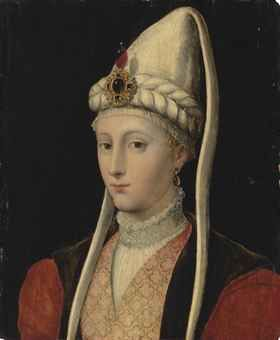 portrait of a woman, possibly haseki hürrem sultan, called roxelana (1506-1558), bust-length, in ottoman costume, with a jewelled headdress ...