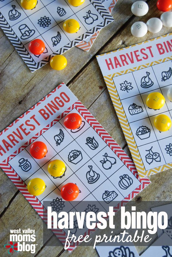 Harvest Bingo Family Activity - Free Printable | West Valley Moms Blog