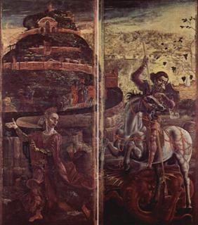 FERRARA - MUSEO DELLA CATTEDRALE - Ante chiuse: San Giorgio e il drago (Cosmè Tura)
