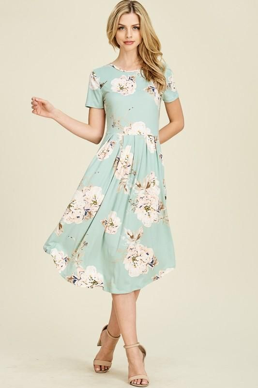 290600c27f Cassie Dress (Mint) – ModestPop.com A gorgeous bold floral printed midi  dress featuring front pleated skirt