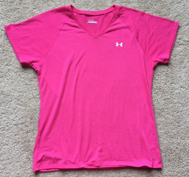 UNDER ARMOUR Pink Cap Short Sleeve Women's Workout Athletic Top Size Small | eBay