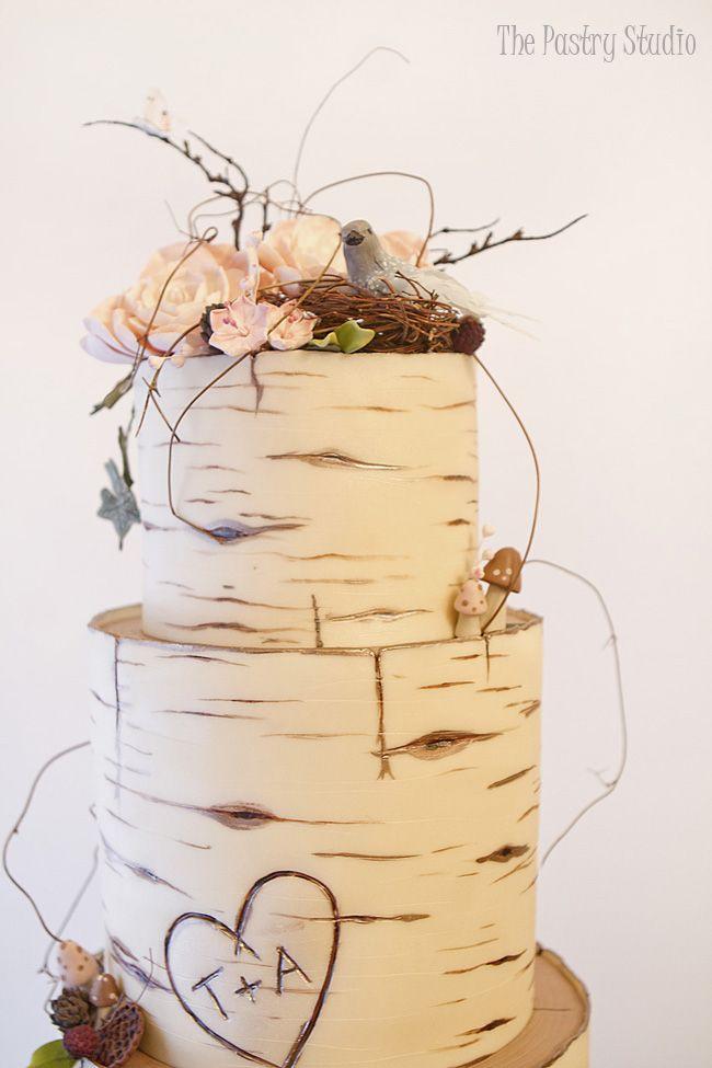 Birch Wood Wedding Cake Custom Designed by The Pastry Studio, Daytona Beach, Florida
