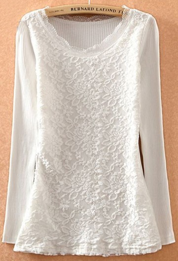 29eaa7b506ed4 Blusa+encaje+solapa+perlas+sin+manga-blanco+EUR€12.64