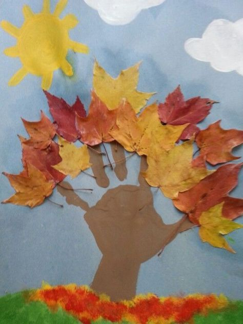 Fun fall arts and crafts project we did using leaves from our yard and the kids handprints for the tree! Lots of fun!: