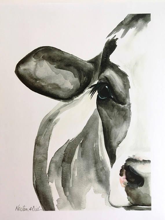 1c6624f0e33f Holstein Cow Watercolor PRINT  artcraft  watercolorarts