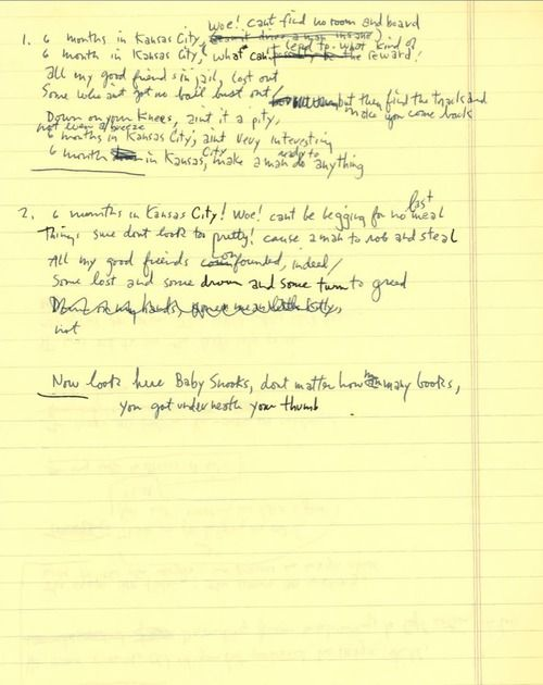 Exclusive! Bob Dylan's Handwritten Lyrics For 'New Basement Tapes' Song, 'Liberty Street' - DAYS OF THE CRAZY-WILD