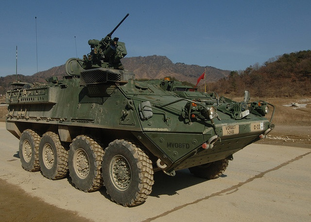 A U.S. Army Stryker armored vehicle from 1-24 Infantry Regiment, 1-25 Stryker Brigade Combat Team, stands ready prior to a live-fire training exercise during Exercise Key Resolve/Foal Eagle 2008 at the Rodriguez Live Fire Range in South Korea Feb. 24, 2008. The annual joint exercise between U.S. forces and Republic of Korea forces provides training to enhance interoperability and combat readiness. (U.S. Navy photo by Mass Communication Specialist 1st Class Lou Rosales)