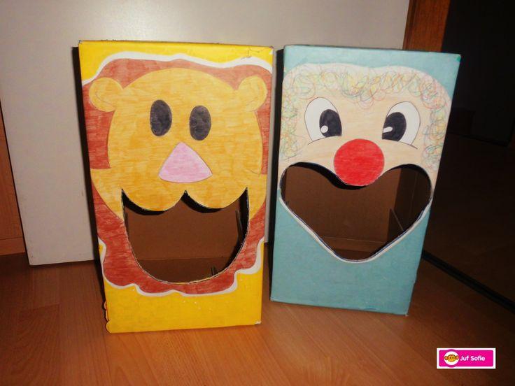 Thema Circus/ Carnaval - Ballengooien!  Gemaakt van kartonnen (pamper)dozen