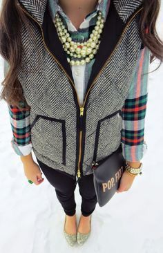 Plaid top & herringbone vest.