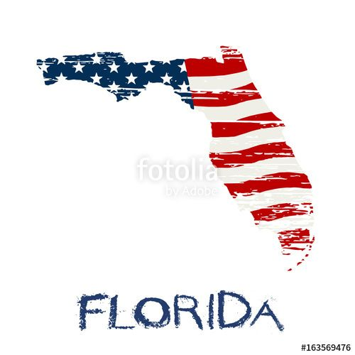 """""""American flag in Florida map. Vector grunge style"""" Stock image and royalty-free vector files on Fotolia.com - Pic 163569476"""