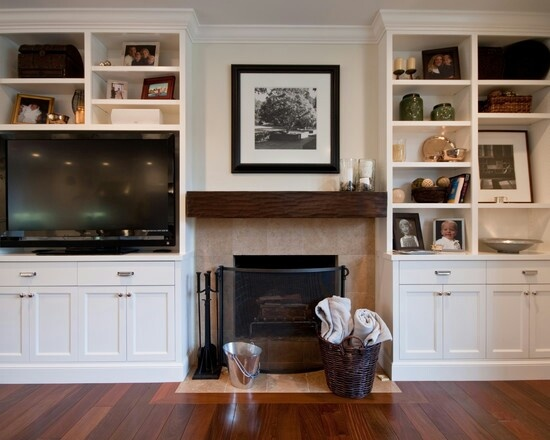 Fireplace and tv with storage
