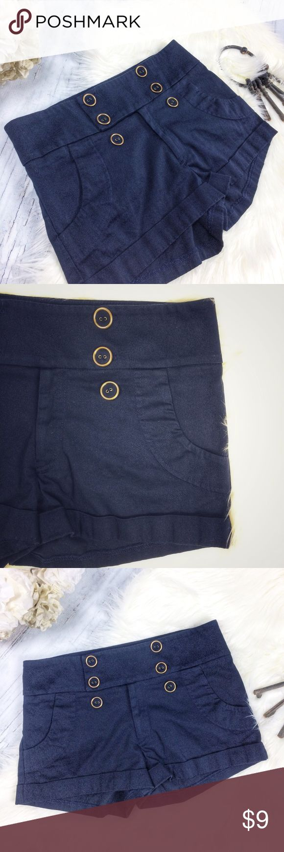 """AQUA Navy Shorts Double Rows Gold Buttons Front M Navy blue shorts with rolled cuff hem and double gold buttons up front- super cute! Wide waist band, zipper and hook closure. Faux pockets in front, shaping darts in back.  Good used condition!  Waist: 31 Length of side seam: 11"""" Rise: 9 3/4"""" Inseam: 2 1/4""""  Check out my other items! Aqua Shorts"""