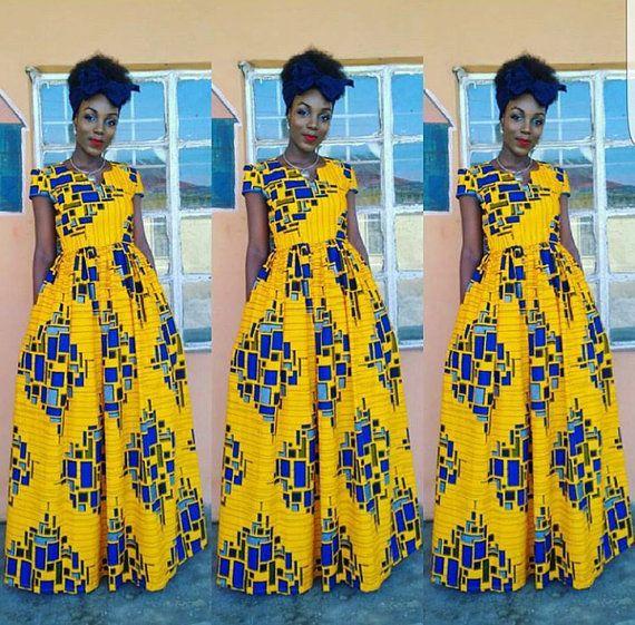Africain Ankara Maxi dress robe Ankara jaune pagne africain