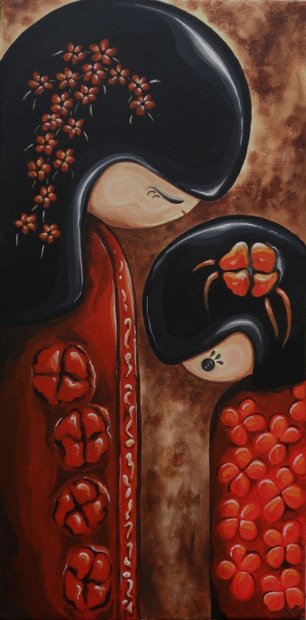Kokeshi Doll Mother and Child Original Artwork by artist Dee Summers