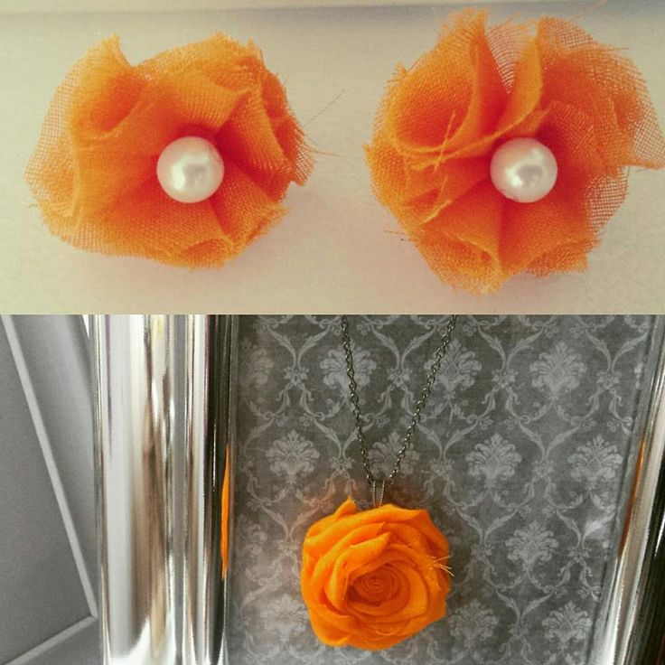 Orange flowers necklace and yearings. Handmade fabric flower.  Fluffy fabric flower adorned with pearls.  Unique jewellery.  Handmade perfect gift.