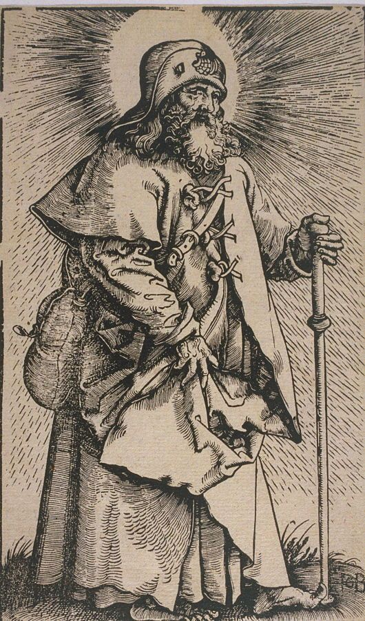 Saint James, 1519, Hans Baldung; the saint is depicted with his symbolic attributes, a pilgrim's staff and hat to which is pinned a scallop shell. (Fine Arts Museums of San Francisco)