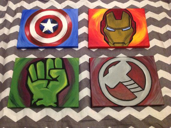 Avengers Paintings Set of 4 on Etsy, $80.00