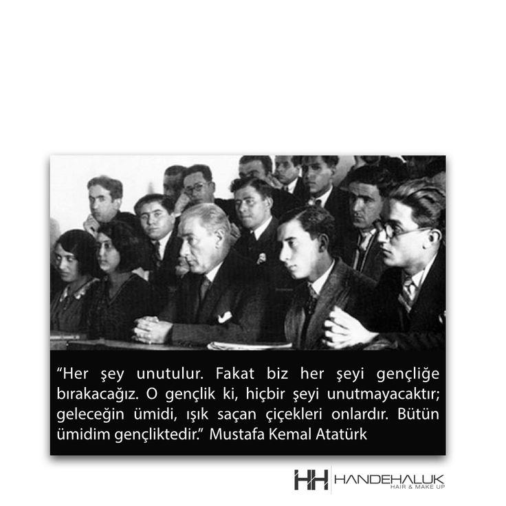 """""""Her şey unutulur. Fakat biz her şeyi gençliğe bırakacağız. O gençlik ki, hiçbir şeyi unutmayacaktır; geleceğin ümidi, ışık saçan çiçekleri onlardır. Bütün ümidim gençliktedir."""" Mustafa Kemal Atatürk  19 Mayıs Atatürk'ü Anma, Gençlik ve Spor Bayramı'mız Kutlu Olsun…  #HandeHaluk #19Mayıs #Atatürk #GençlikSporBayramı #ulus #zorlu #zorluavm  #zorlucenter"""