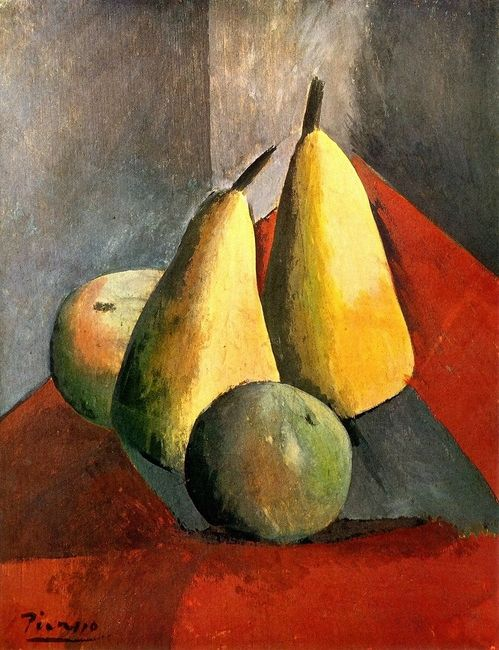 Pablo Picasso - 1908 pablo picasso has made this still life appear to be very realistic by the use of texture and tone. by the use of tone, he was been able to make the fruit appear more realistic and curved looking. the shadow on the left helps to assist the viewer in knowing where the lighting is coming from. the whole painting is quite eye catching however it also has a slightly darker, more grim-looking side.