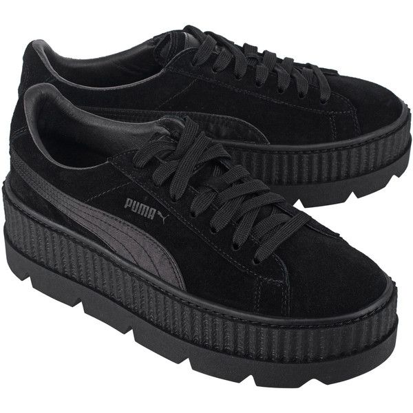 Fenty x Puma by Rihanna Cleated Creeper Suede Black // Plateau suede... ($190) ❤ liked on Polyvore featuring shoes, sneakers, sport shoes, black sports shoes, black sneakers, puma trainers and sports shoes