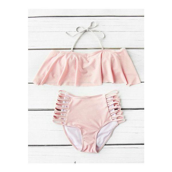 SheIn(sheinside) Flounce Detail Ladder Cutout High Waist Bikini Set ($13) ❤ liked on Polyvore featuring swimwear, bikinis, pink, high waisted bikini swimwear, high rise bikini, ruffle bandeau bikini, cut-out bikinis and pink bikini