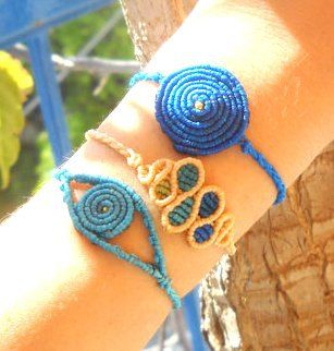 Blue macrame bracelet set of 3