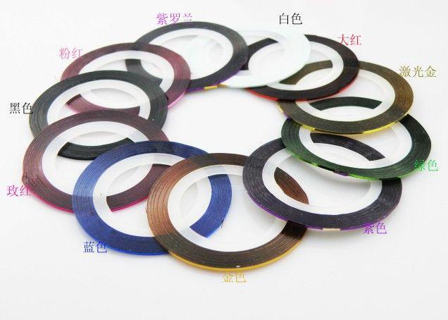 2 개 22 색 네일 아트 장식 팁 네일 아트 스티커 매니큐어 스트라이핑 테이프 라인 발가락 손톱 그린 손톱 라듐 풀칠