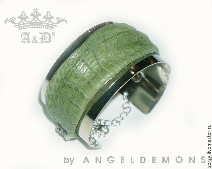 Купить Браслет Nature Green Croco Silver - салатовый, браслет, браслет кожа, браслет металл