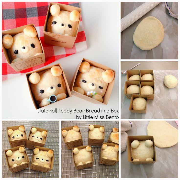 En una caja cuadrada, se puso el pan dulce con formato d Oso y osa c un juguetito peq.