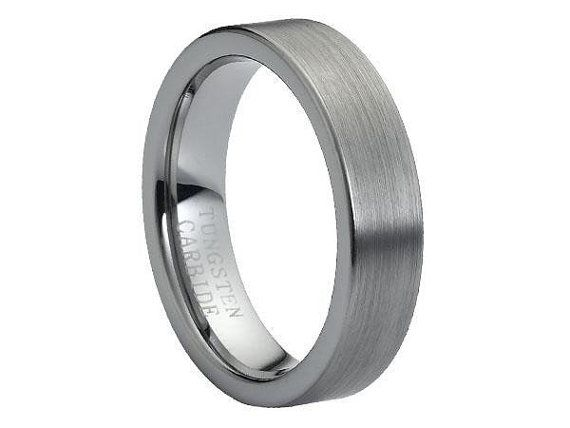 Mens Grey Flat Brushed Tungsten Carbide Ring, Comfort Fit Band - 6 mm