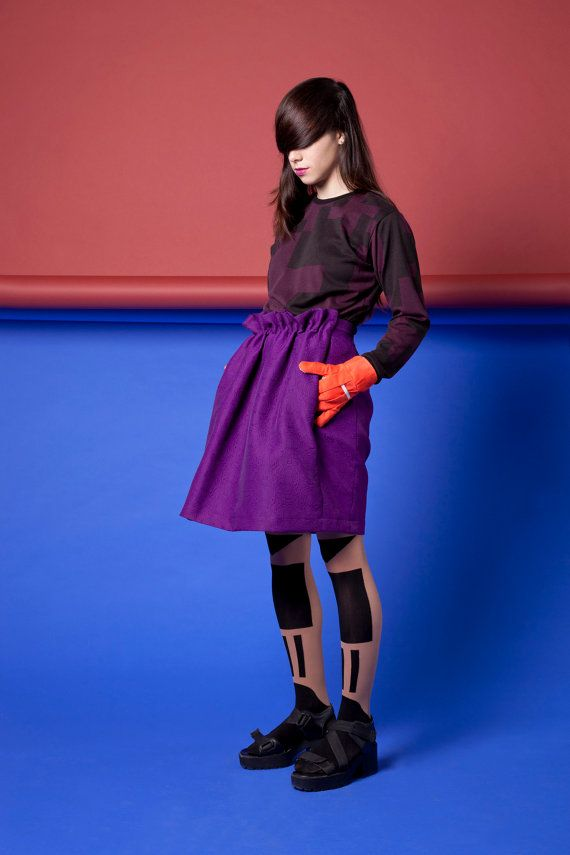 voluminous gathered midi skirt of kicking purple damask .  2 side pockets // 2 rare darts // side zipper and a button // high quality polyester