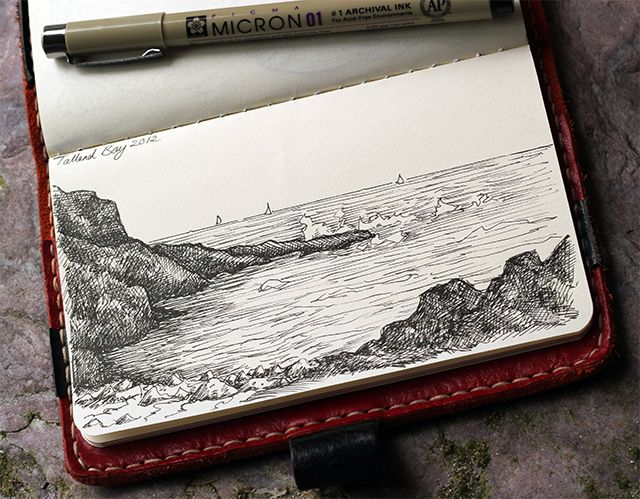 Lorrie Whittington - Talland Bay near Polperro in Cornwall - Micron pens in standard cahier Moleskine - August 2012