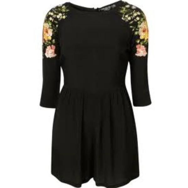 Topshop Black Floral Embroidered Shoulder Playsuit Uk Size 8 ❤ liked on Polyvore