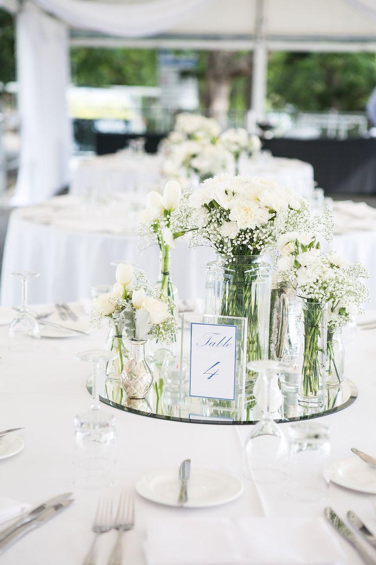 White wedding table flowers mirror base white table for Wedding table settings