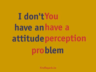 I don't have an attitude. You have a perception problem.
