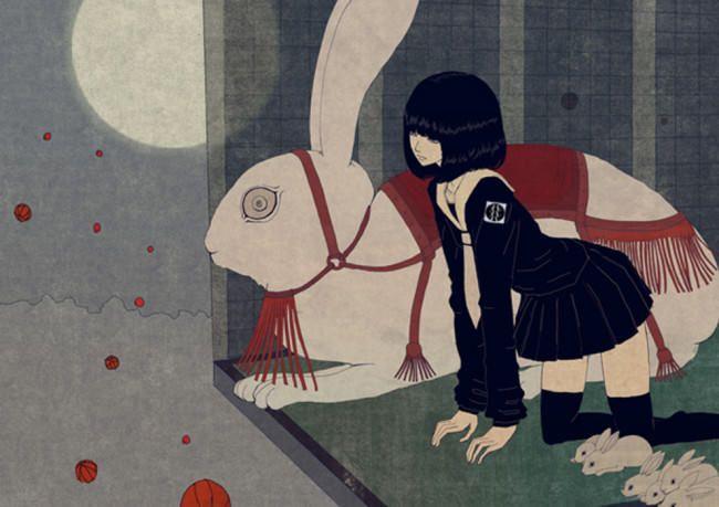 anime girl and giant bunny illustration
