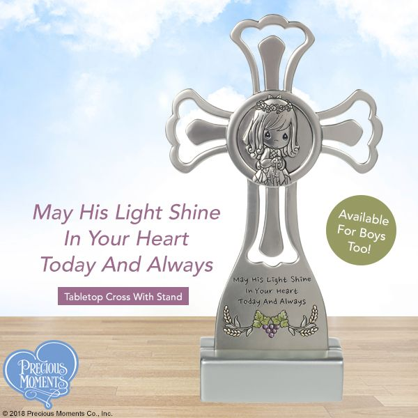 May His Light Shine In Your Heart Today And Always Tabletop Cross With Stand Girl Communion Cross Precious Moments First Communion Gifts