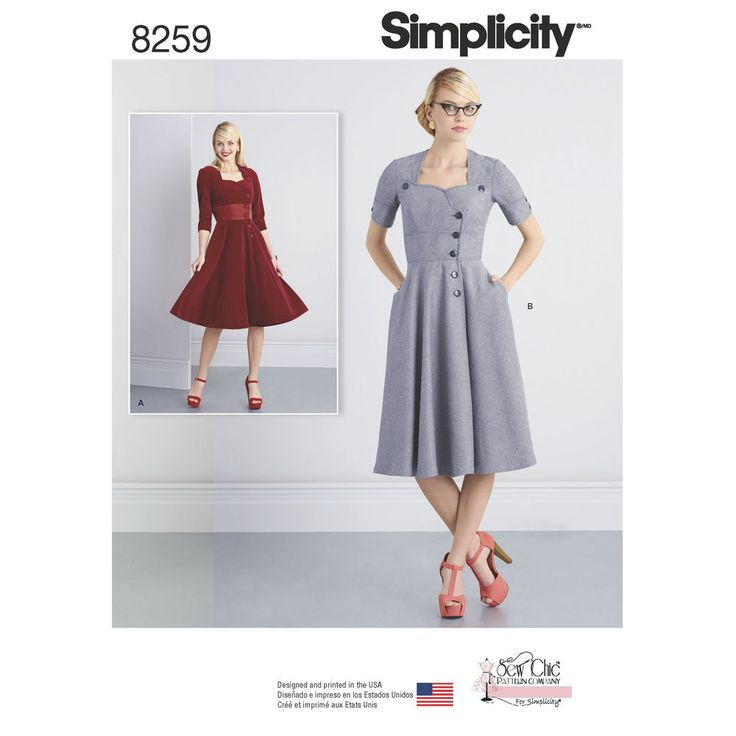Get a great retro look with these dresses from the Sew Chic Pattern Company for Simplicity. Pattern includes button-front dresses with full skirts and either scalloped neckline with half sleeves or sweetheart neckline with long sleeves. Simplicity sewing pattern.