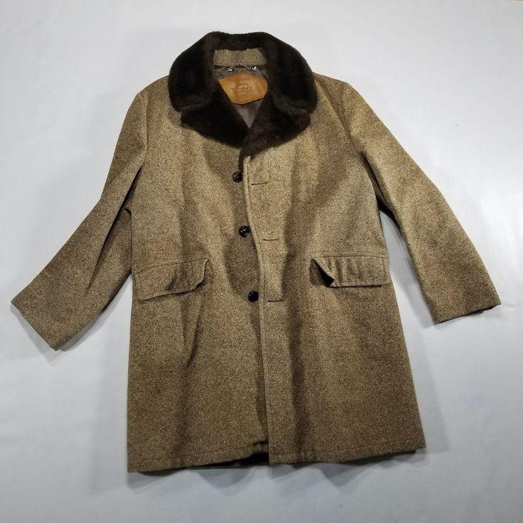 Vintage Woolrich Men's Long Coat MEDIUM Wool 3 Button Rancher Jacket Fur Collar #Woolrich #LongCoat