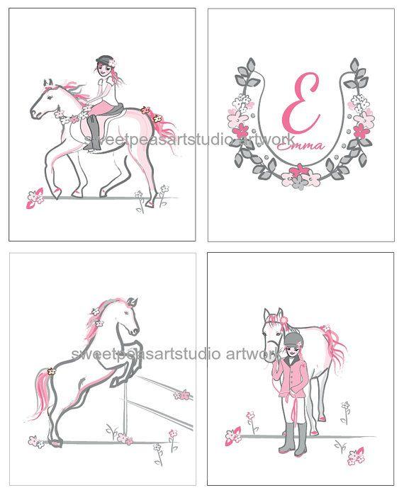 Girls Horse Bedroom Art decor Horse Art by sweetpeasartstudio2