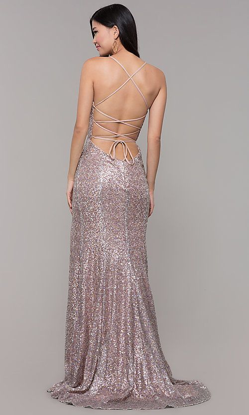 Sequined Mesh V-Neck Long Formal Prom Dress  e39a987da