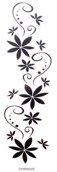 Impermeável tatuagem preta etiquetas flores sexy braço (cintura / peito / costas / ombro / mão / perna, etc.)