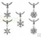 Mixed Silver Tone Christmas Snowflake Charm Dangle Beads Fit European Bracelet 33x16-39x19mm, sold per packet of 30 $3.37